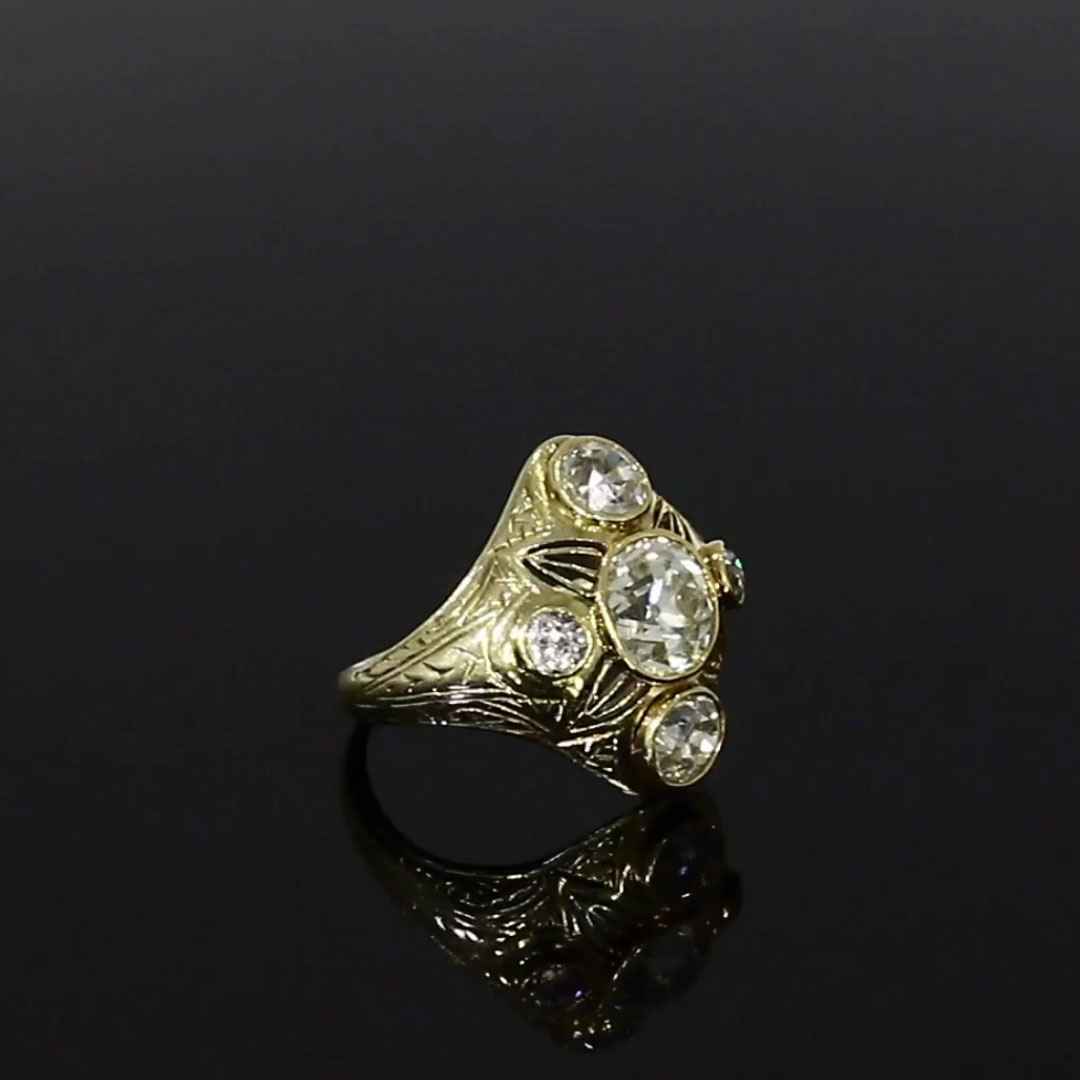 Victorian Diamond Cluster Ring<br /> 1.70CT in Yellow Gold