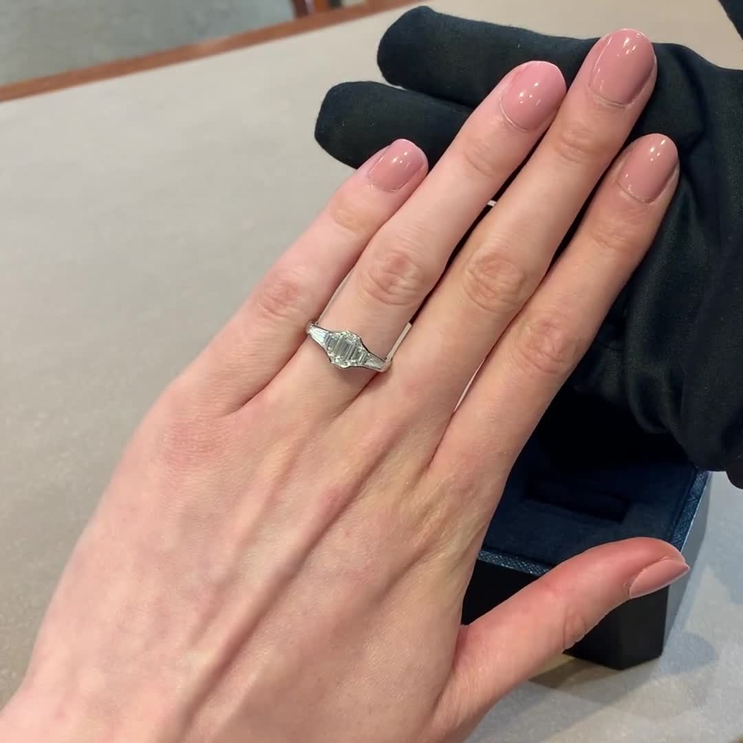 Kingdom Emerald Cut Diamond Ring<br /> 1.24CT in Platinum