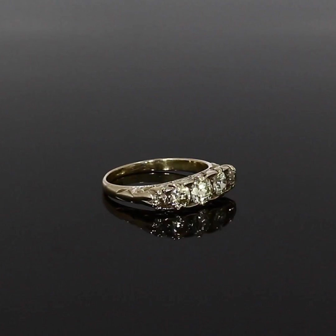 Victorian Five Stone Diamond Ring <br /> 1.10ct in 18ct Yellow Gold