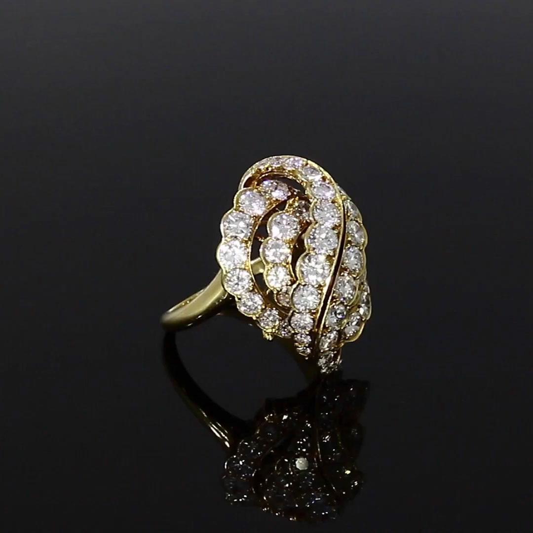 1970s Van Cleef & Arpels Diamond Ring<br /> 2.70CT in Yellow Gold