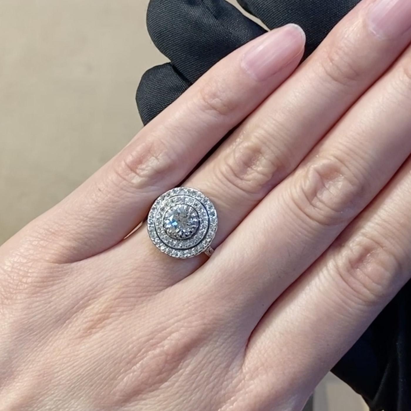 Art Deco Diamond Target Ring<br /> 1.08CT in Platinum
