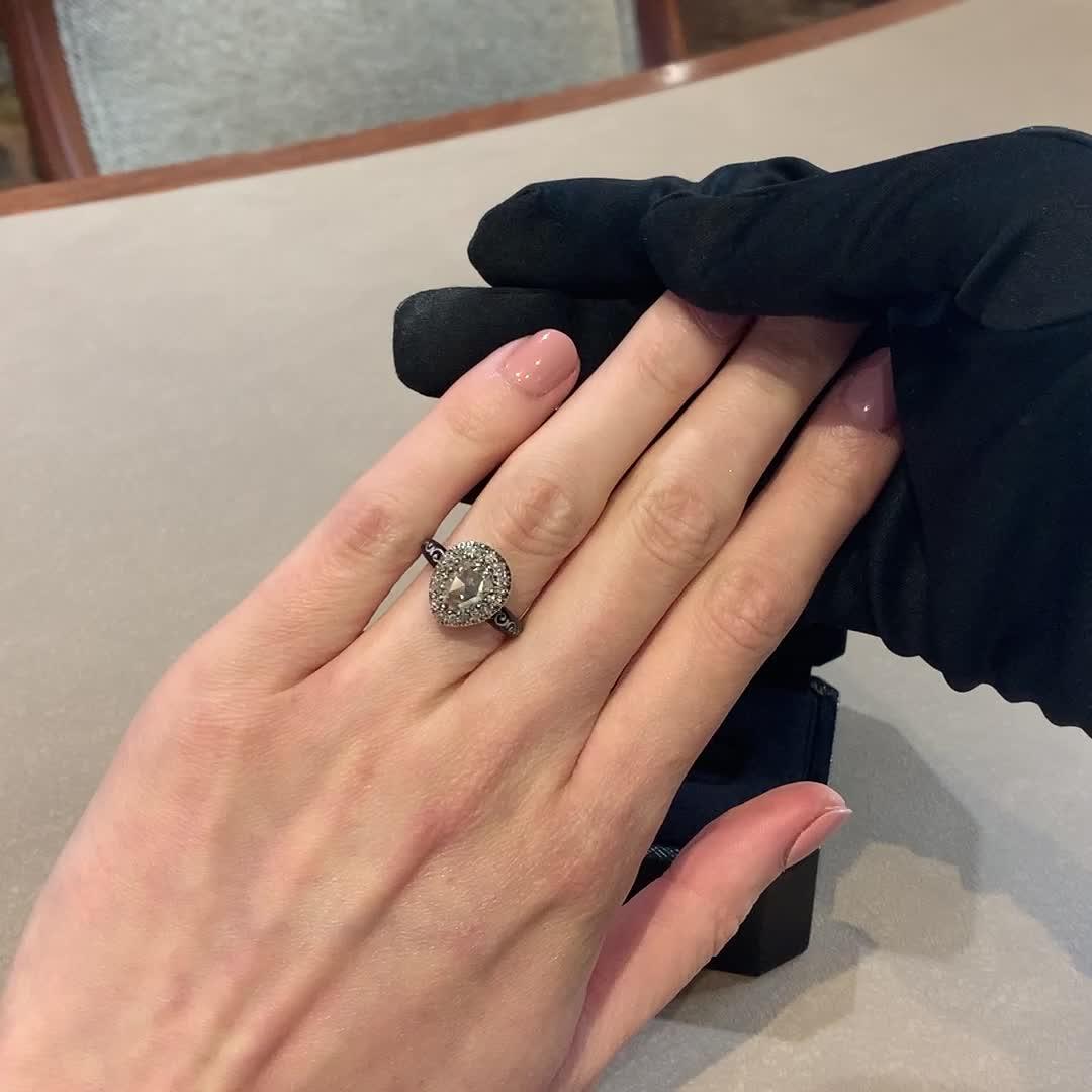 Georgian Rose Cut Diamond Ring<br /> 0.86CT in Silver & Yellow Gold