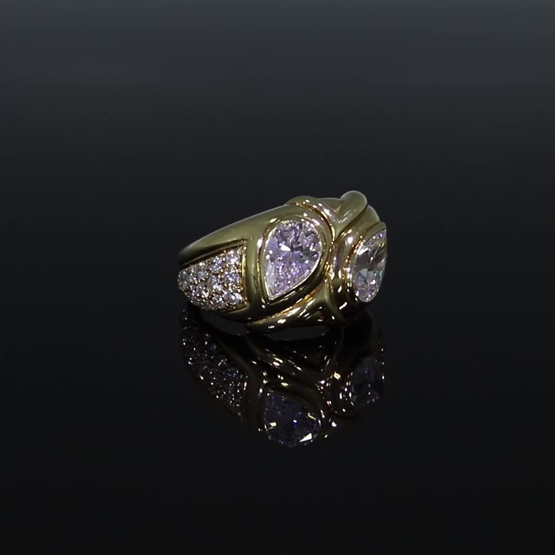 Present Day Bvlgari Diamond Ring<br /> 3.72CT in Yellow Gold