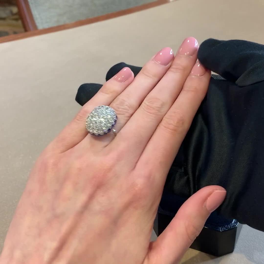 Retro Diamond Bombé Ring<br /> 5.66CT in Platinum