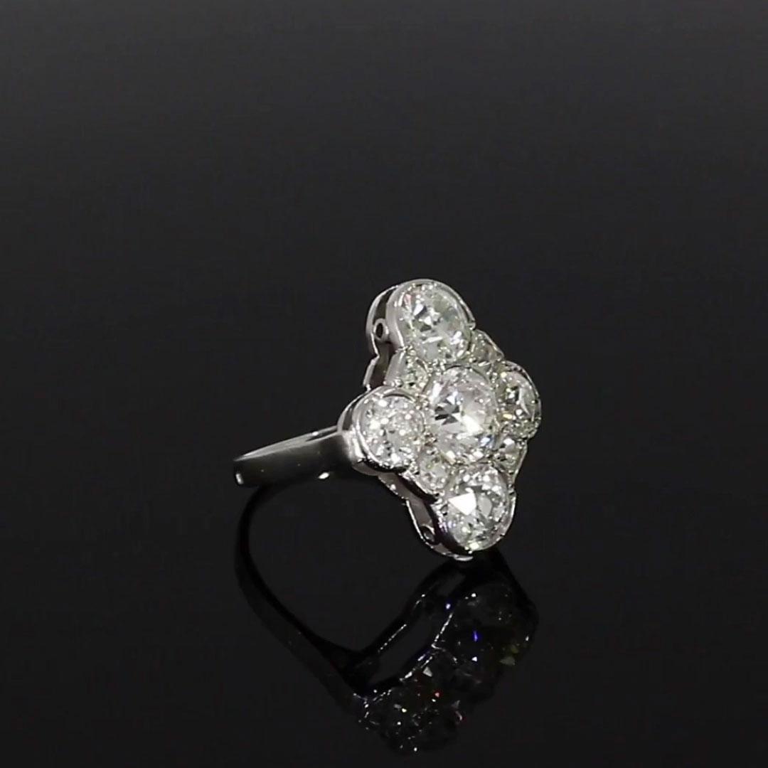 Art Deco Diamond Cluster Ring <br /> 1.45CT in Platinum