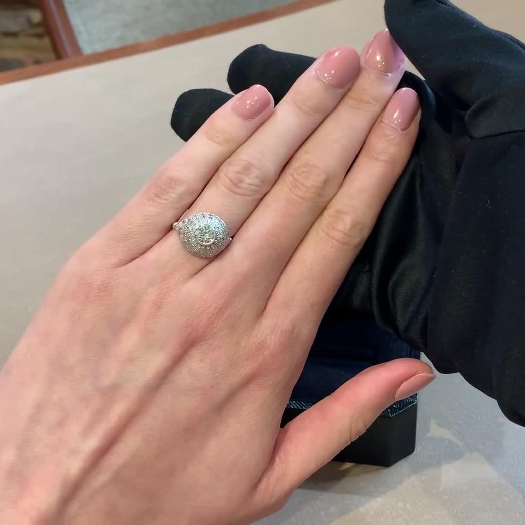 Art Deco Diamond Bombé Ring<br /> 0.51CT in Platinum