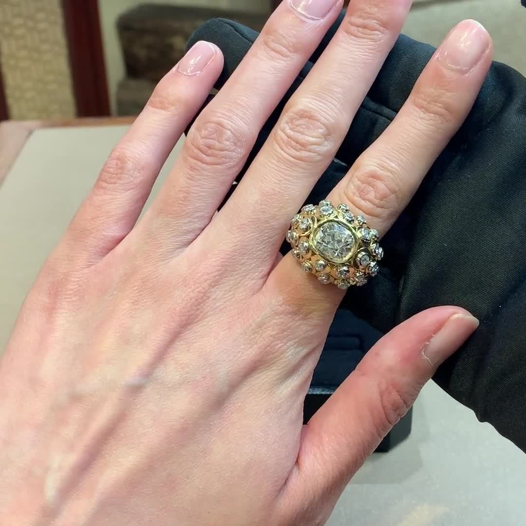 Cartier Paris Yellow Gold and Diamond Bombe Ring <br /> 3.50ct Old Cut Diamond