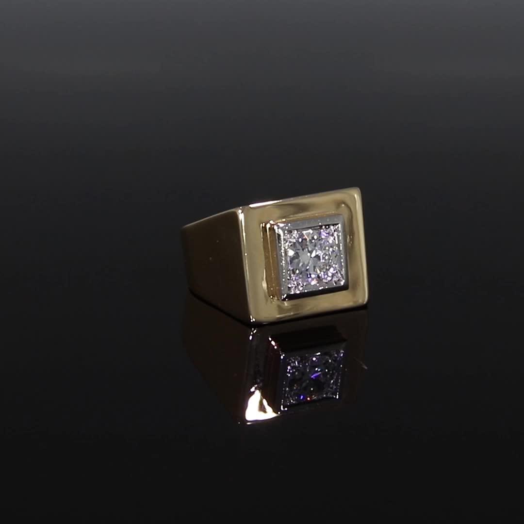 Retro Diamond Signet Ring<br /> 0.98CT in Rose Gold
