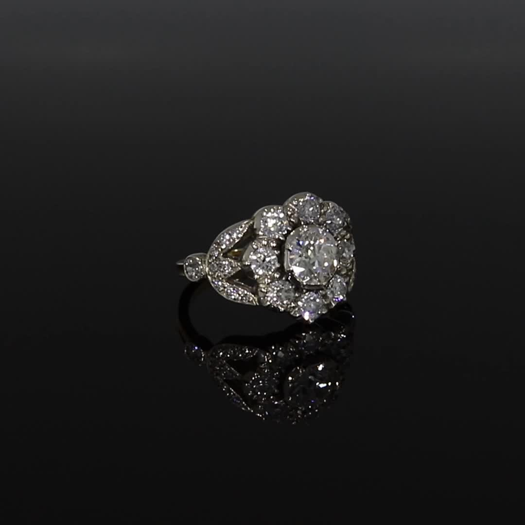 Victorian Diamond Cluster Ring<br /> 0.85CT in Yellow Gold & Silver