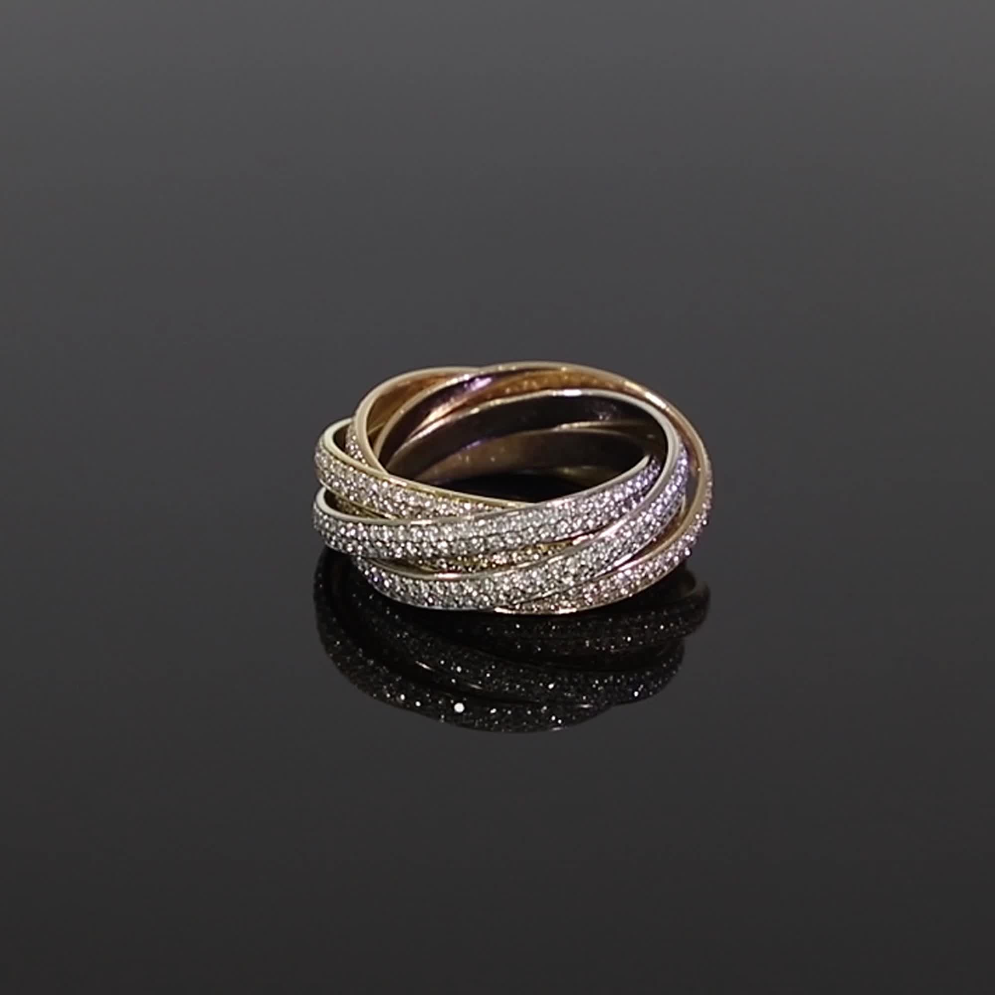 Present Day Cartier Trinity Ring<br /> 2.67CT in White, Yellow & Rose Gold