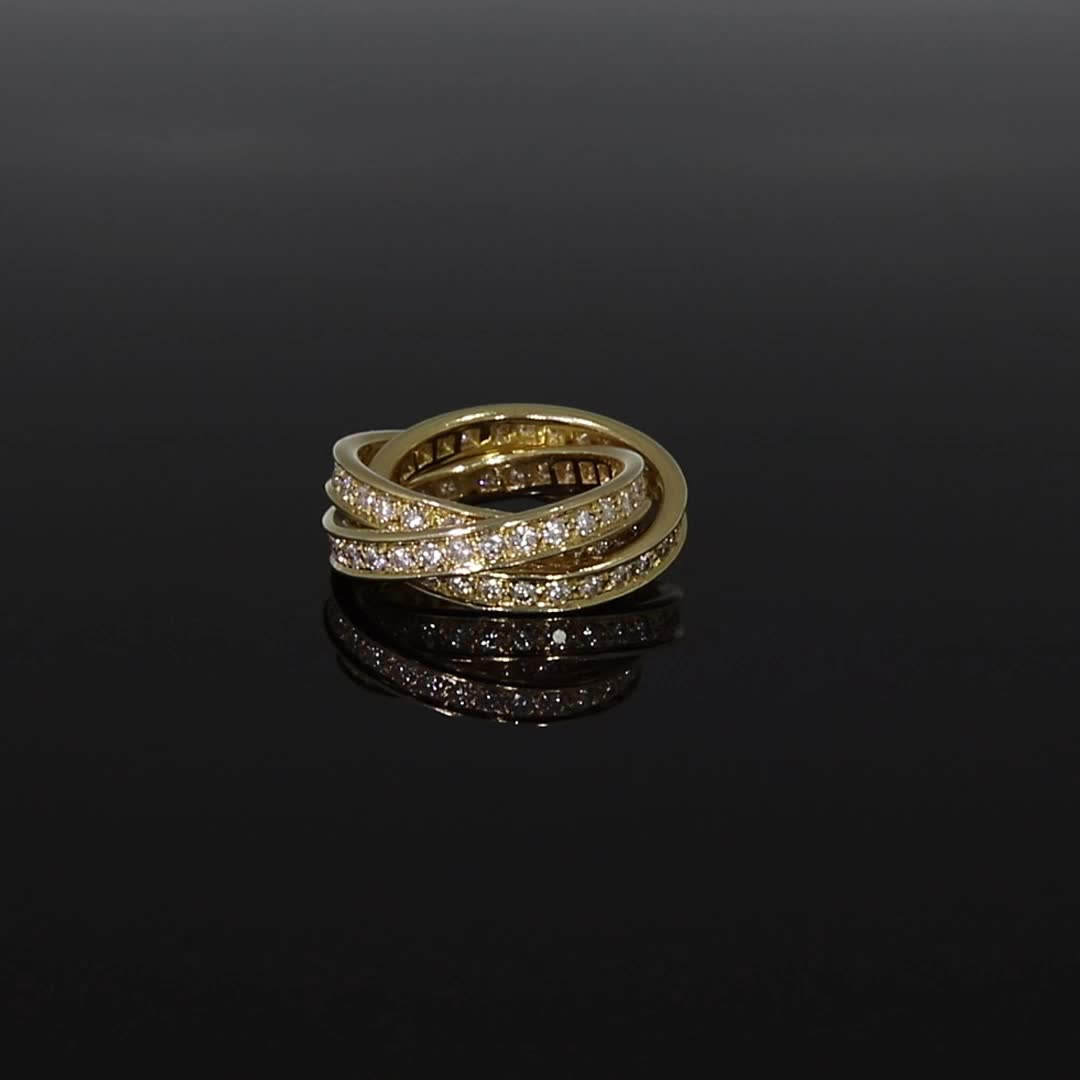 Contemporary Cartier Trinity Ring<br /> 1.80CT in Yellow Gold