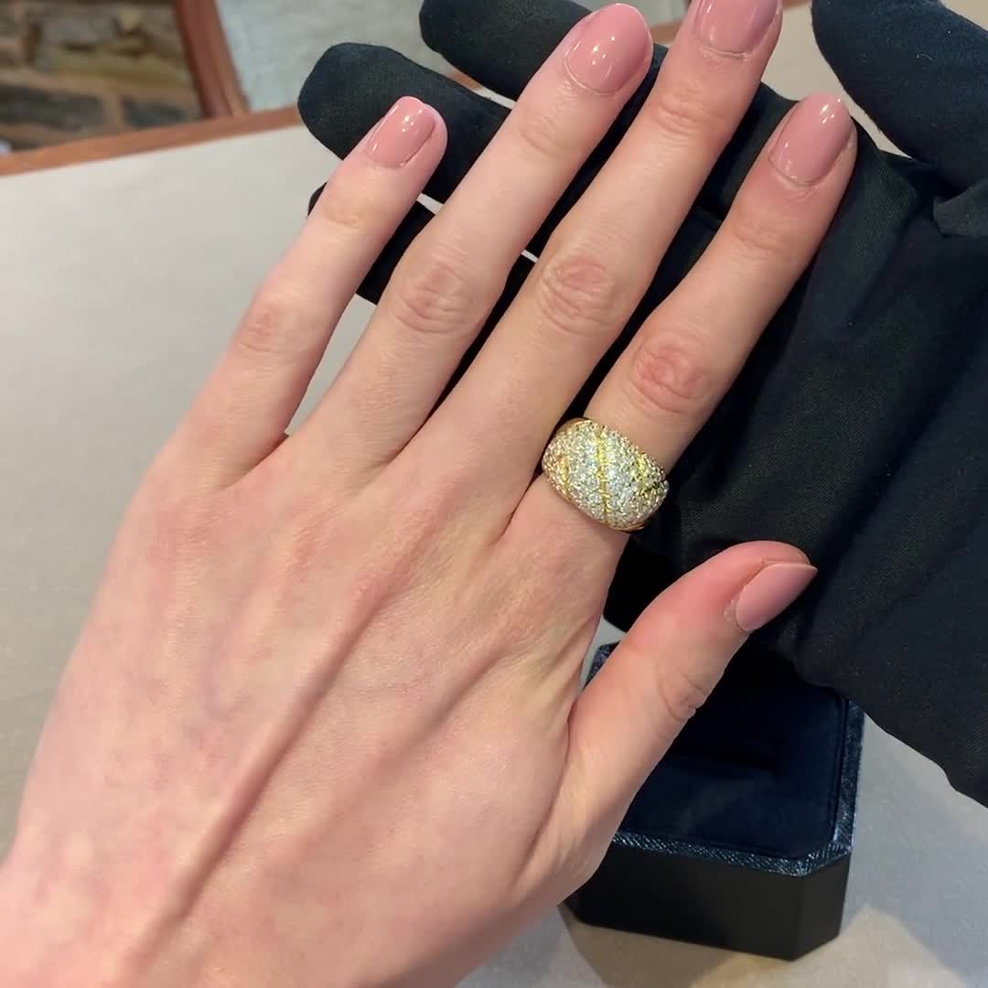 1960's Day Van Cleef & Arpels Diamond Ring<br /> 4.00CT in Yellow Gold
