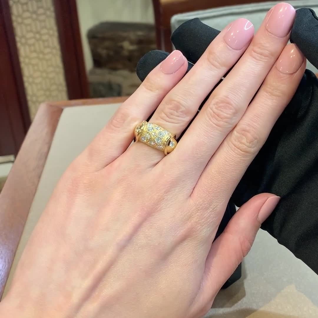 Retro Diamond Cocktail Ring<br /> 1.29CT in Yellow Gold
