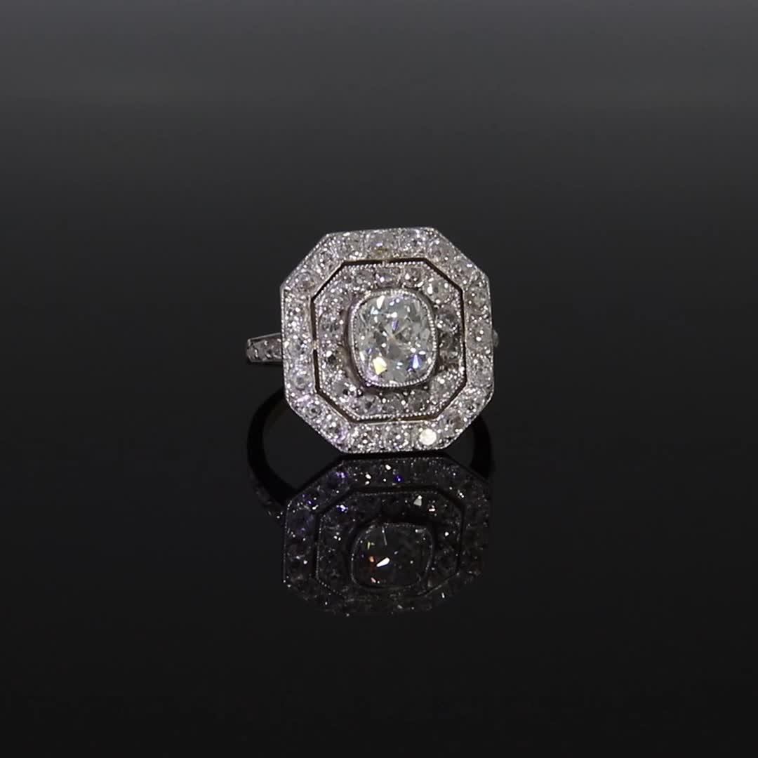 Belle Époque Diamond Target Ring<br /> 1.37CT in Platinum & Yellow Gold