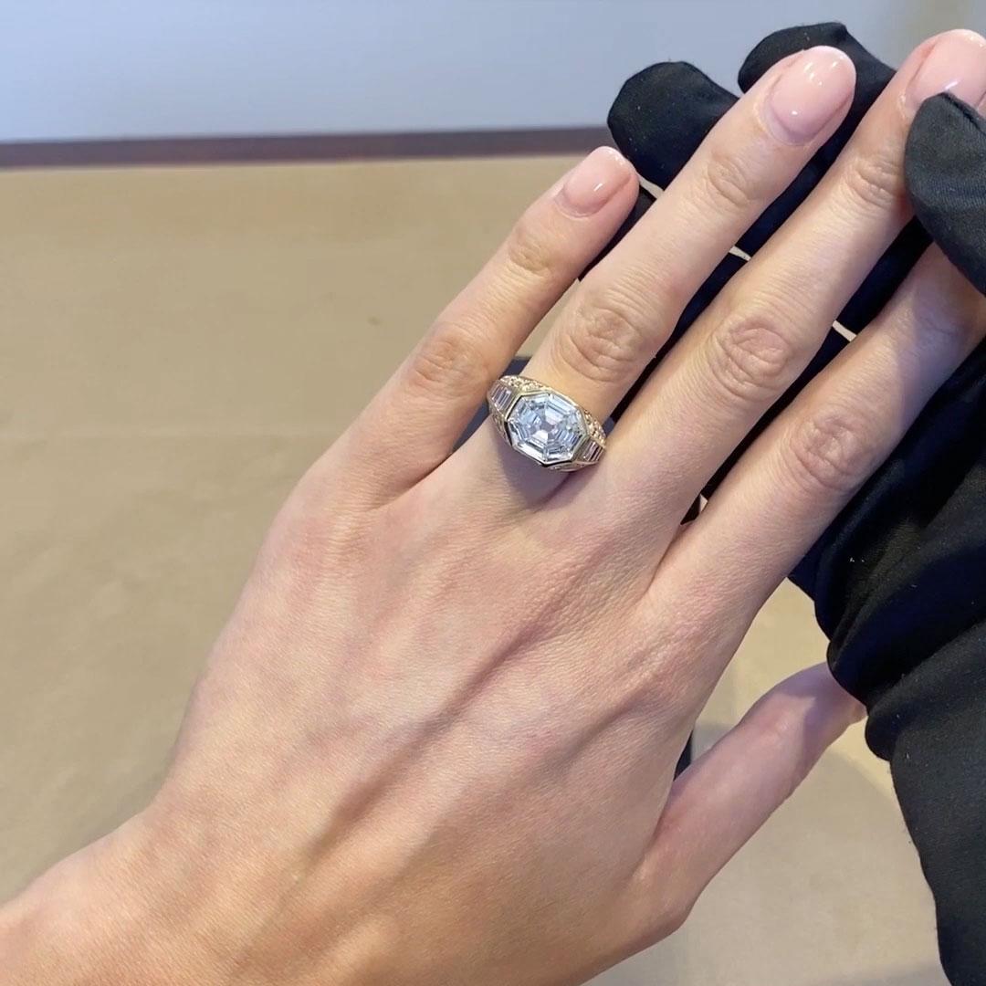 Retro Bvlgari Rectangular Step Cut Trombino Ring <br /> 5.18ct in Yellow Gold