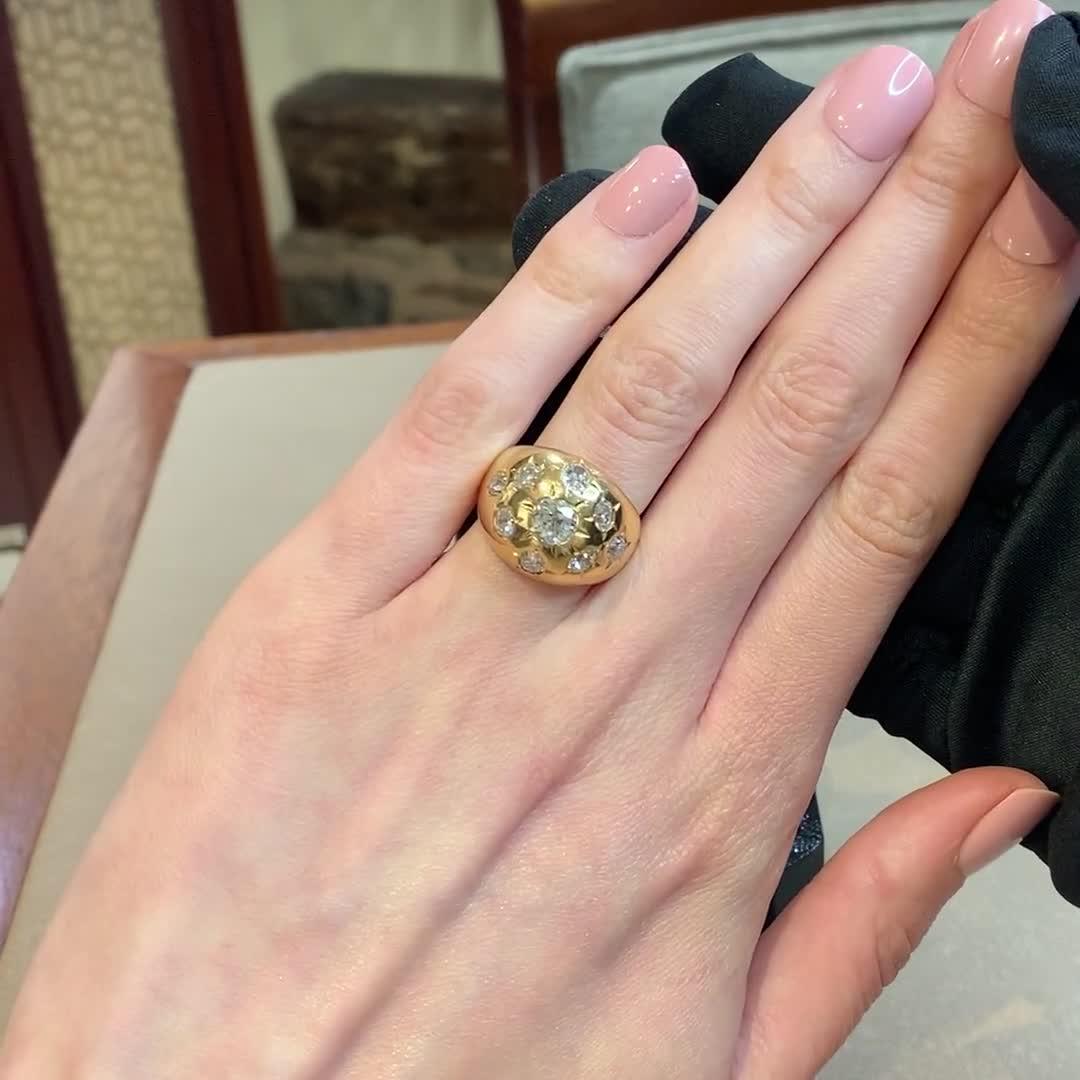 Art Deco Diamond Bombé Ring<br /> 2.90CT in Yellow Gold