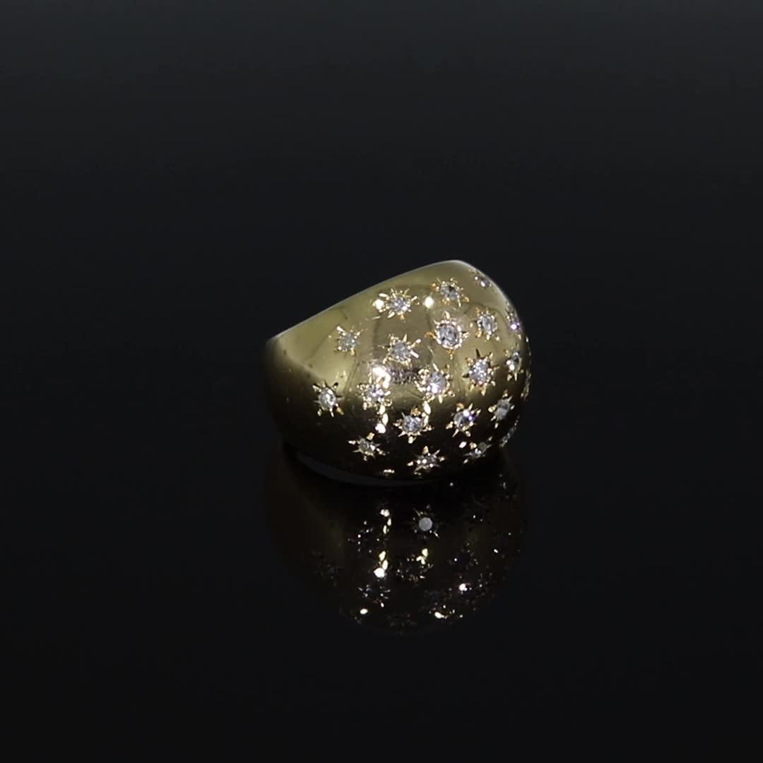Retro Diamond Bombé Ring<br /> in Yellow Gold