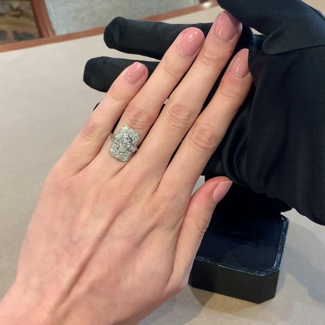 Art Deco Diamond Plaque Ring<br /> 1.70CT in Platinum