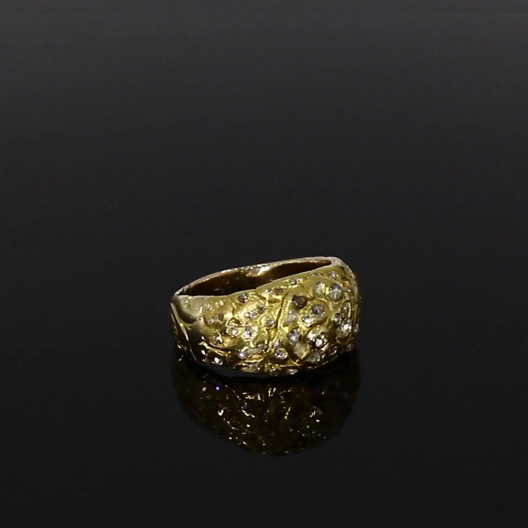 Victorian Diamond Floral Ring<br /> 0.50CT in Yellow Gold