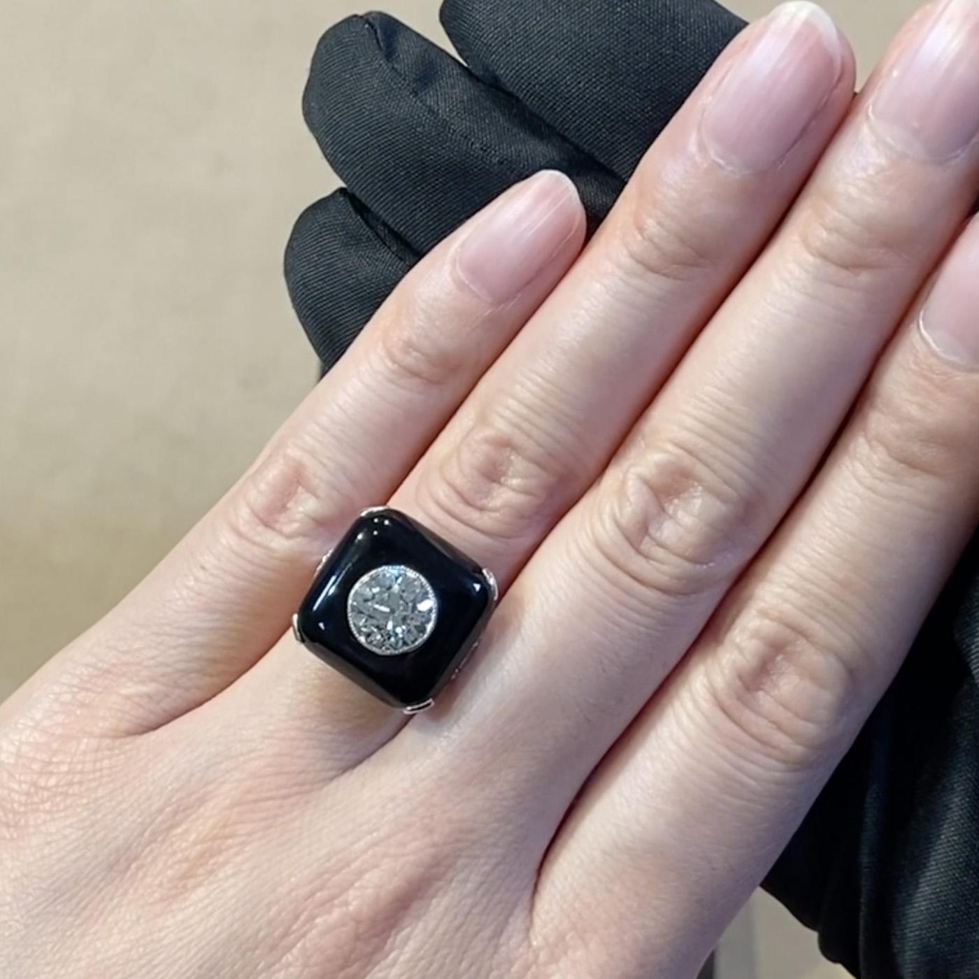 Art Deco Diamond and Onyx Plaque Ring <br /> 2.68CT in Platinum