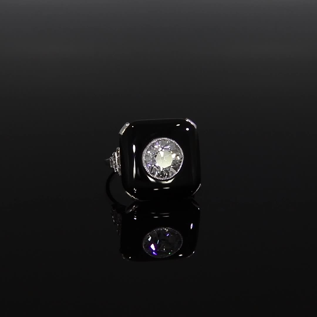 Art Deco Diamond and Onyx Plaque Ring <br /> 2.68CT in Platinum