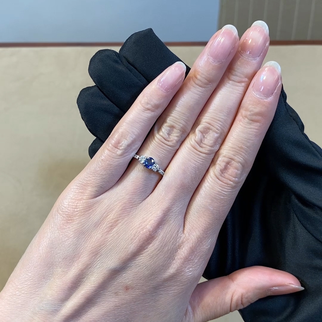 Sapphire and Diamond Three Stone Ring <br /> in Platinum