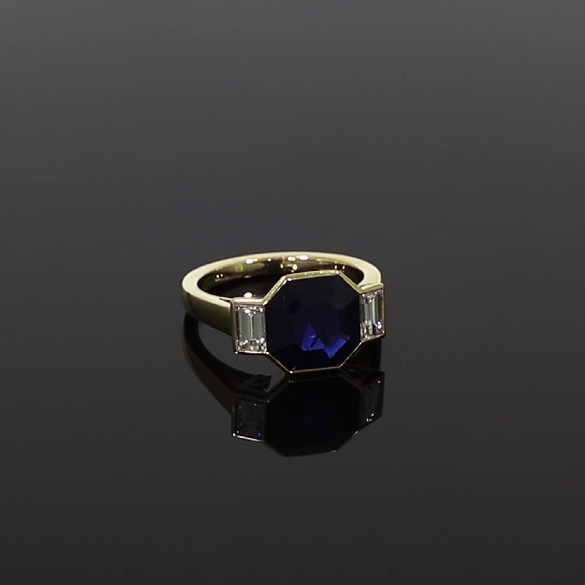 Sapphire and Diamond Kingdom Ring<br /> 4.92CT in Yellow Gold