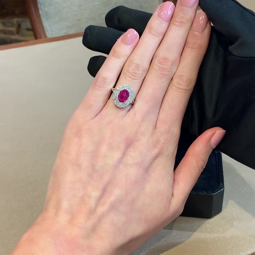 Contemporary Burmese Pink Sapphire Ring<br /> 1.66CT in Platinum