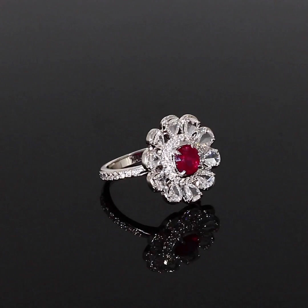Cushion Cut Ruby Ring<br /> 0.96CT in White Gold