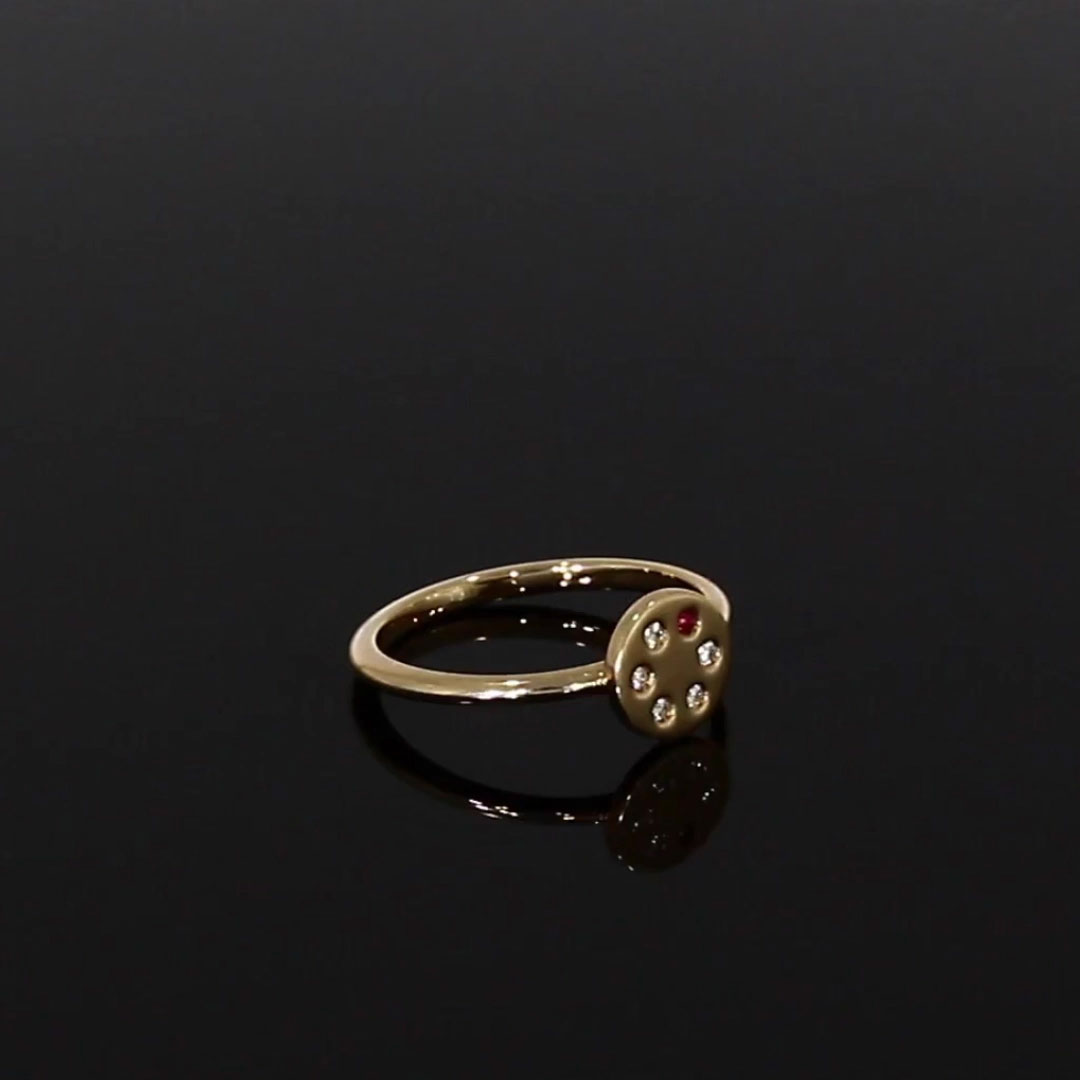 Ruby and Diamond Russian Roulette Ring <br /> 0.05 in Rose Gold