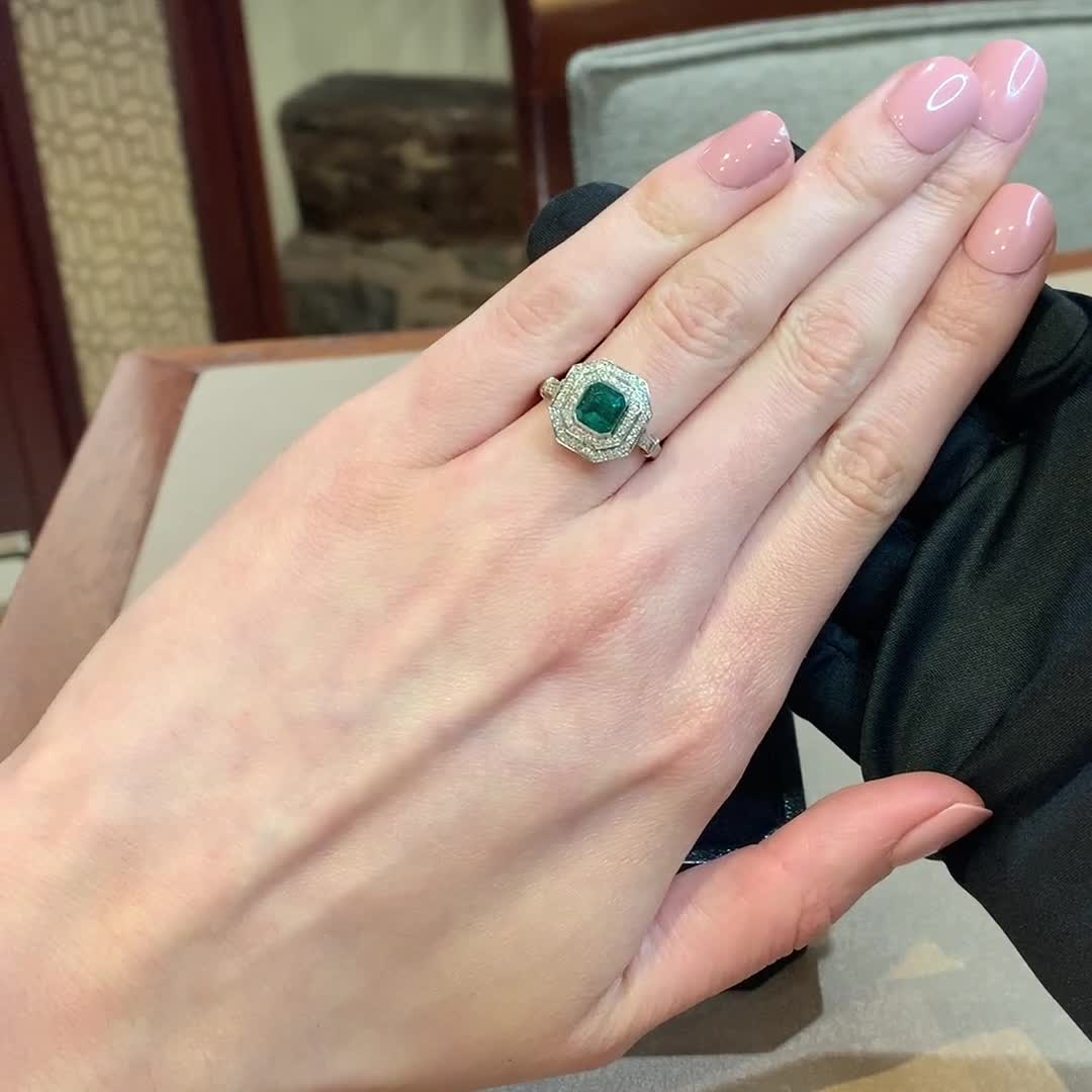 Emerald and Diamond Target Ring <br /> 1.34CT in Platinum