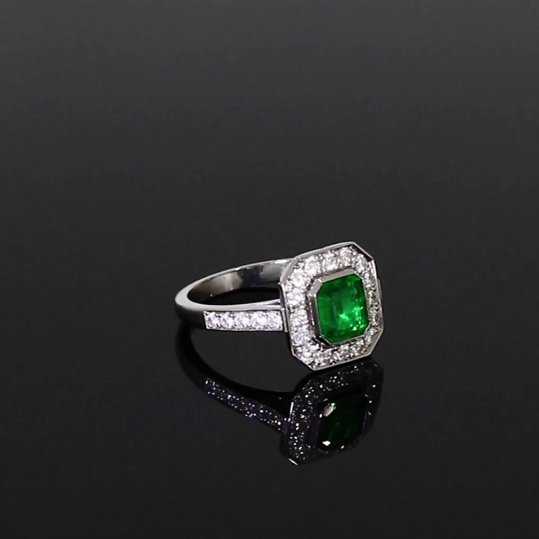 Emerald and Diamond Target Ring <br /> 1.36CT in Platinum
