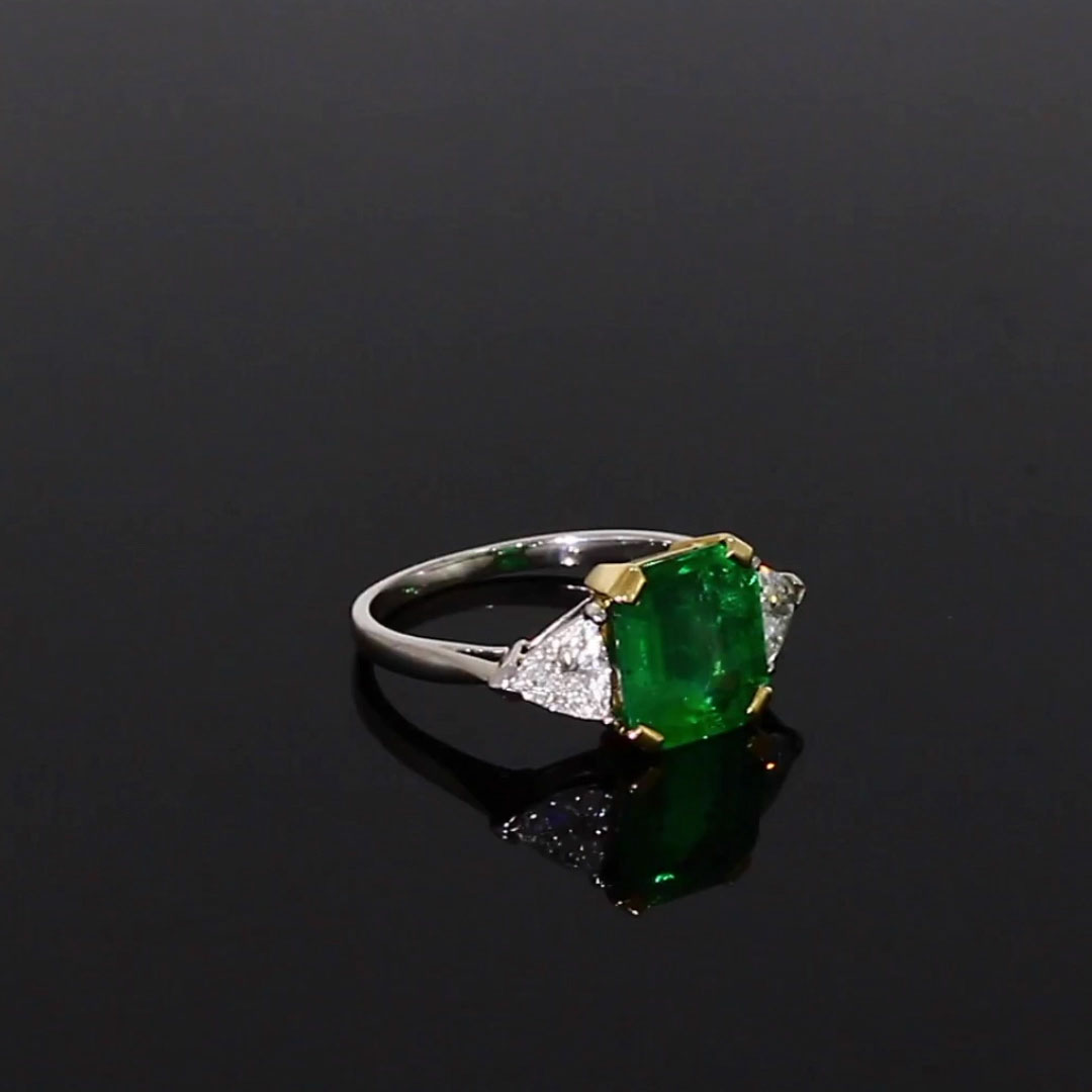 Octagon Cut Emerald Ring <br /> 3.00CT in Platinum & Yellow Gold