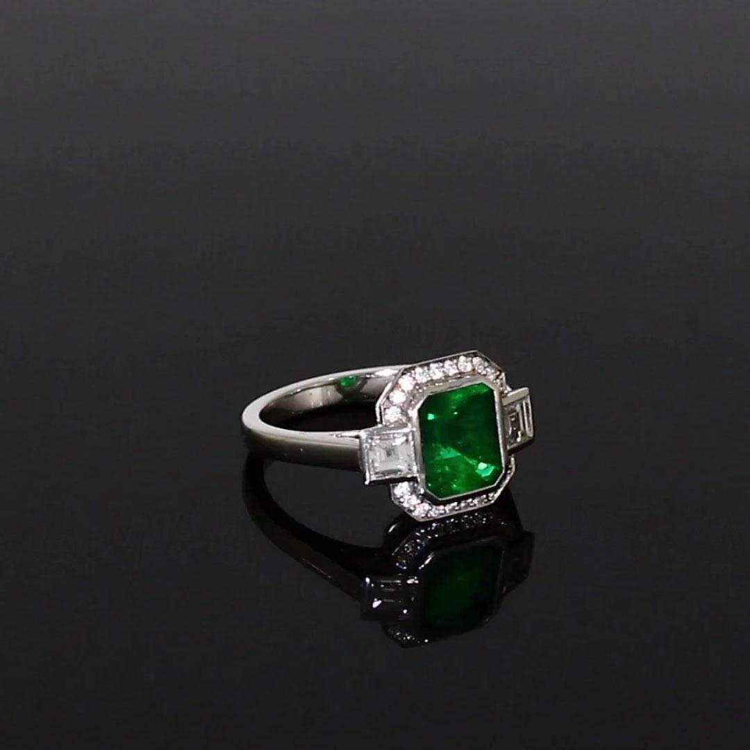 Columbian Trap Cut Emerald Ring<br /> 1.63CT in Platinum