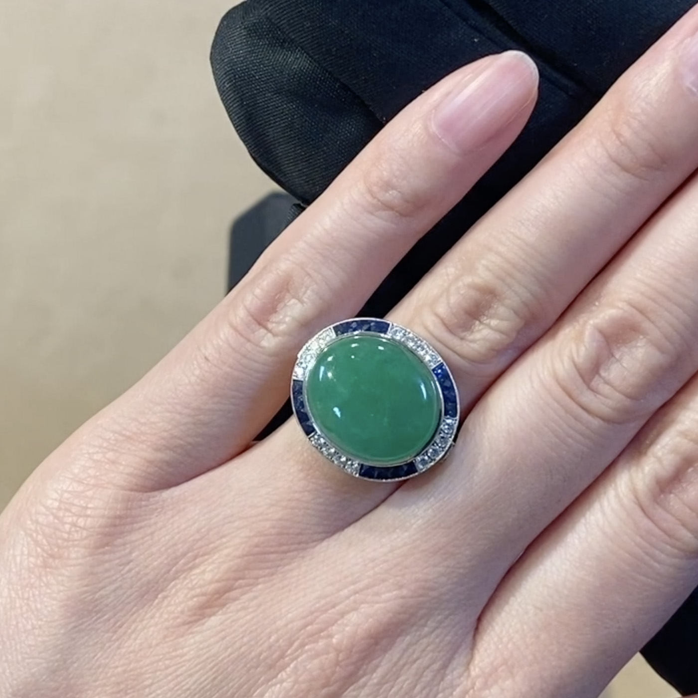 Cabochon Jadeite Ring<br /> 0.69CT in Platinum