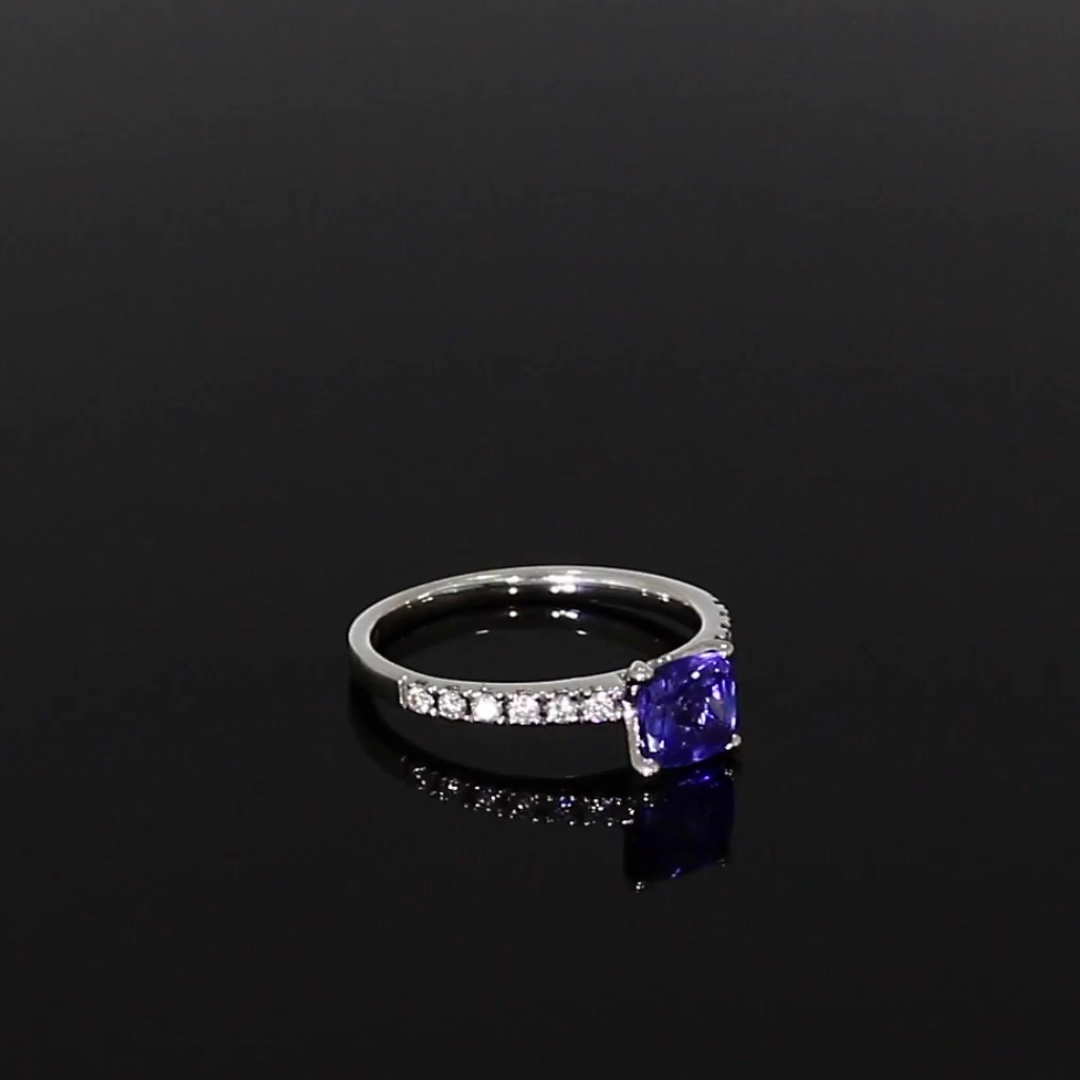 Tanzanite and Diamond Ring <br /> 1.21ct in White Gold