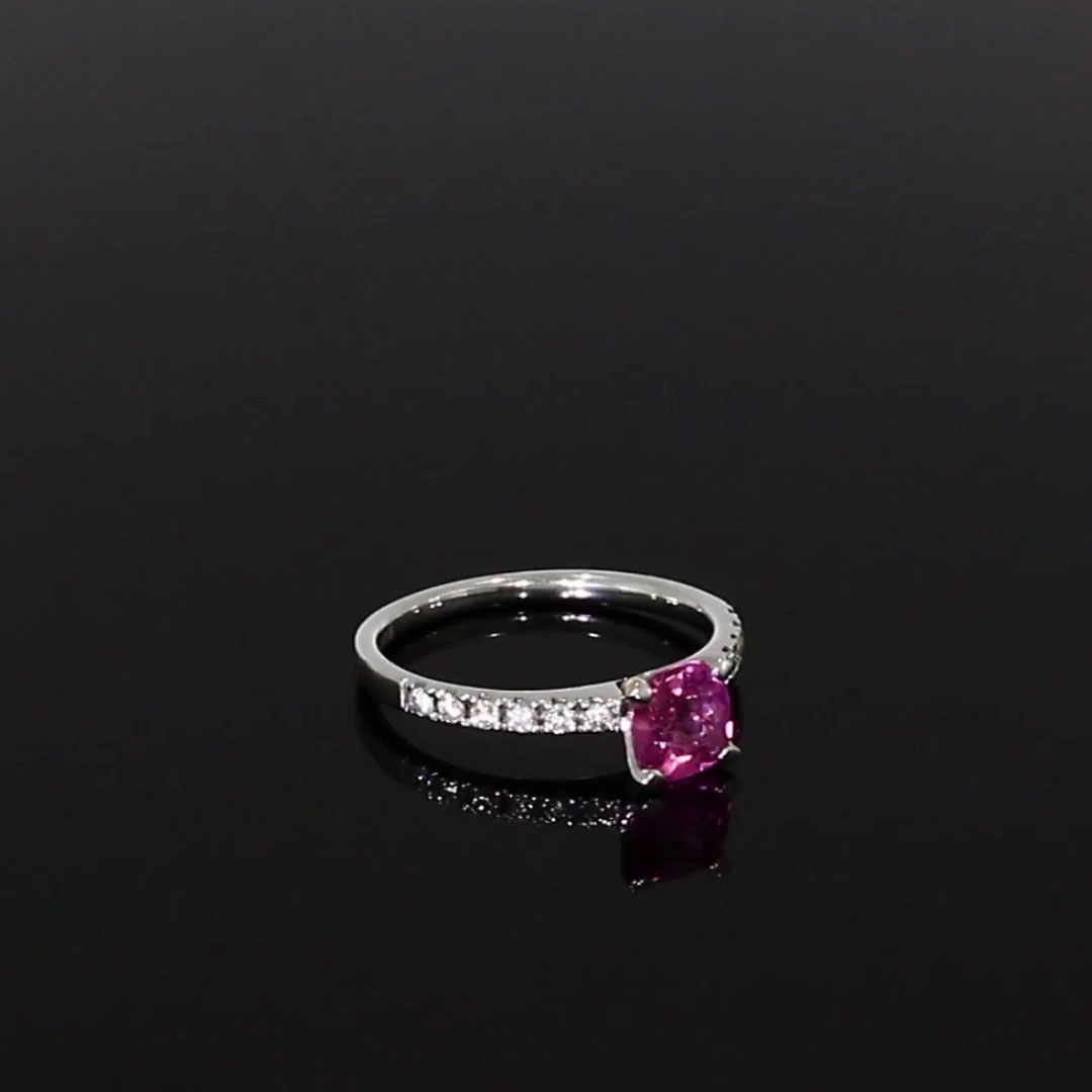 Pink Tourmaline and Diamond Ring <br /> 1.21ct in White Gold