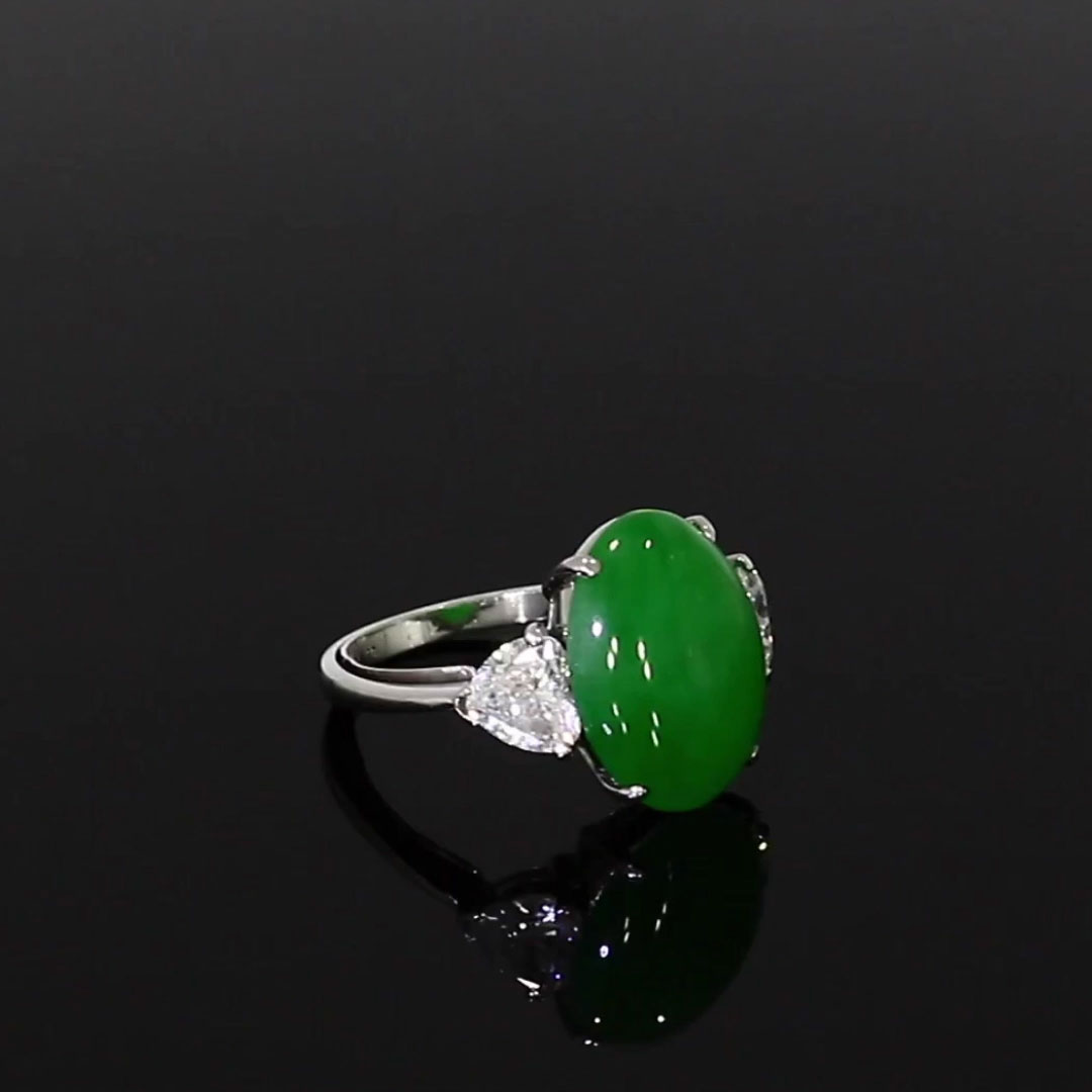 Jade and Heart Diamond Ring<br /> in 18ct White Gold