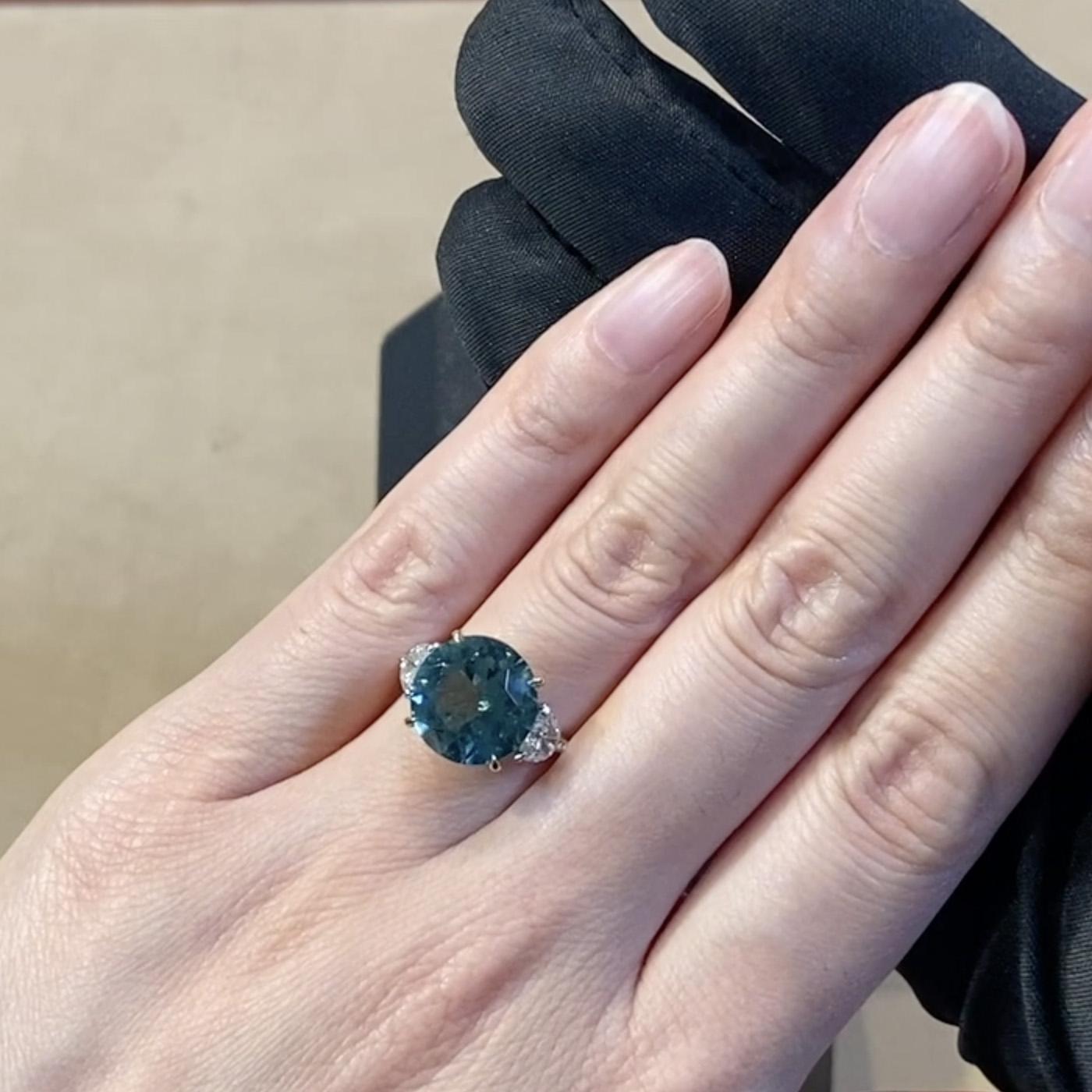 Brilliant Cut Blue Tourmaline Ring<br /> 5.22CT in Platinum