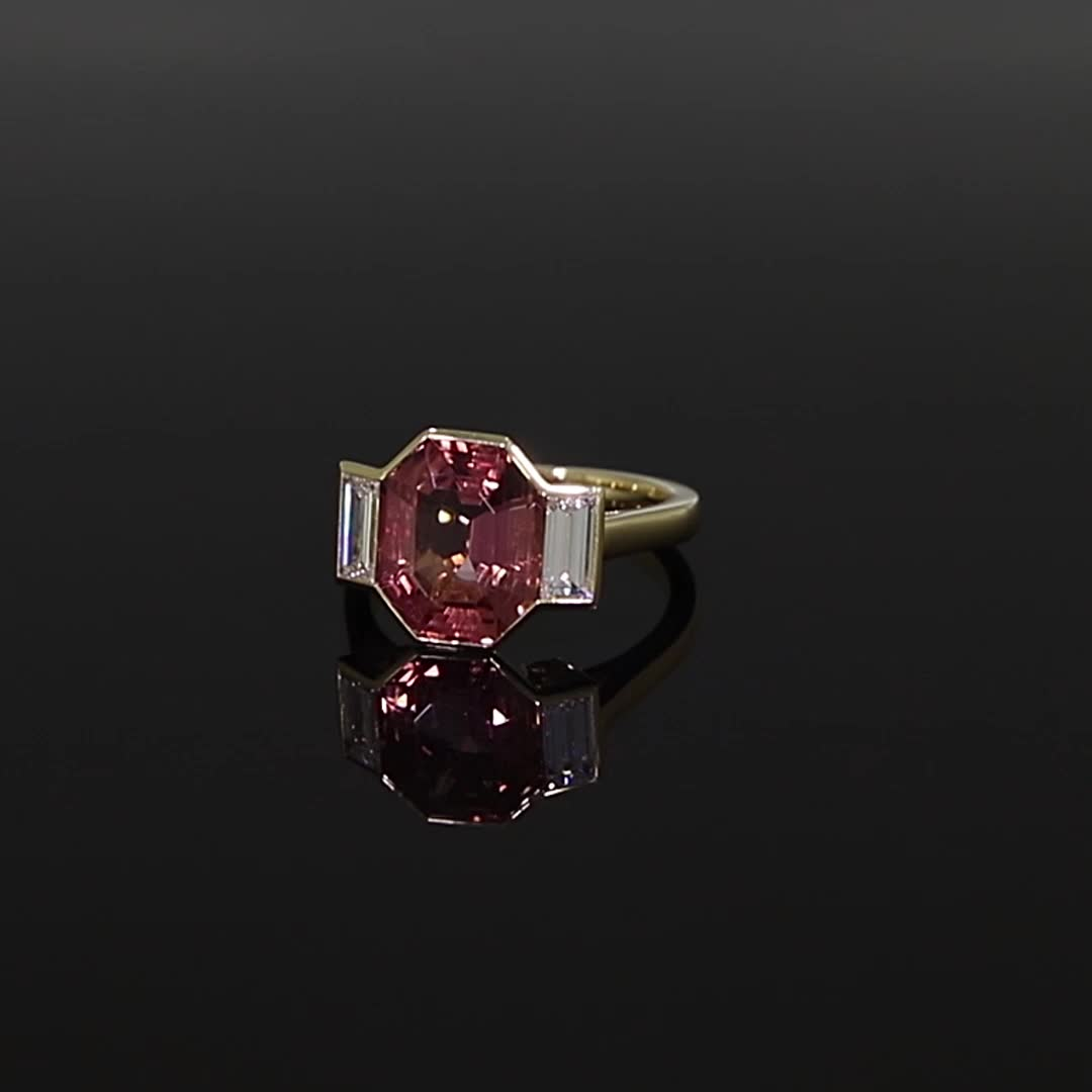Pink Topaz Kingdom Ring<br /> 5.15CT in Yellow Gold