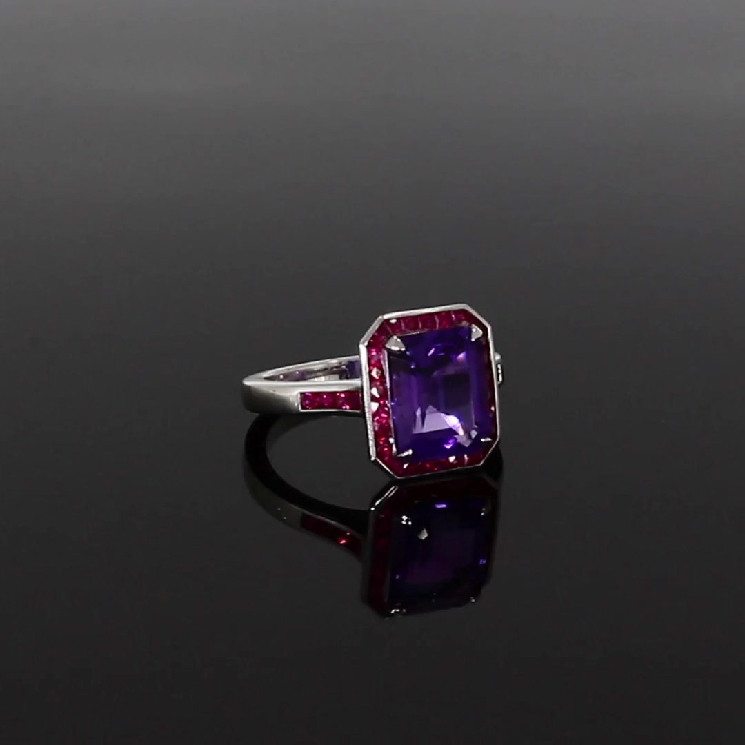 Gatsby Amethyst & Ruby Cocktail Ring <br /> 3.50ct in White Gold