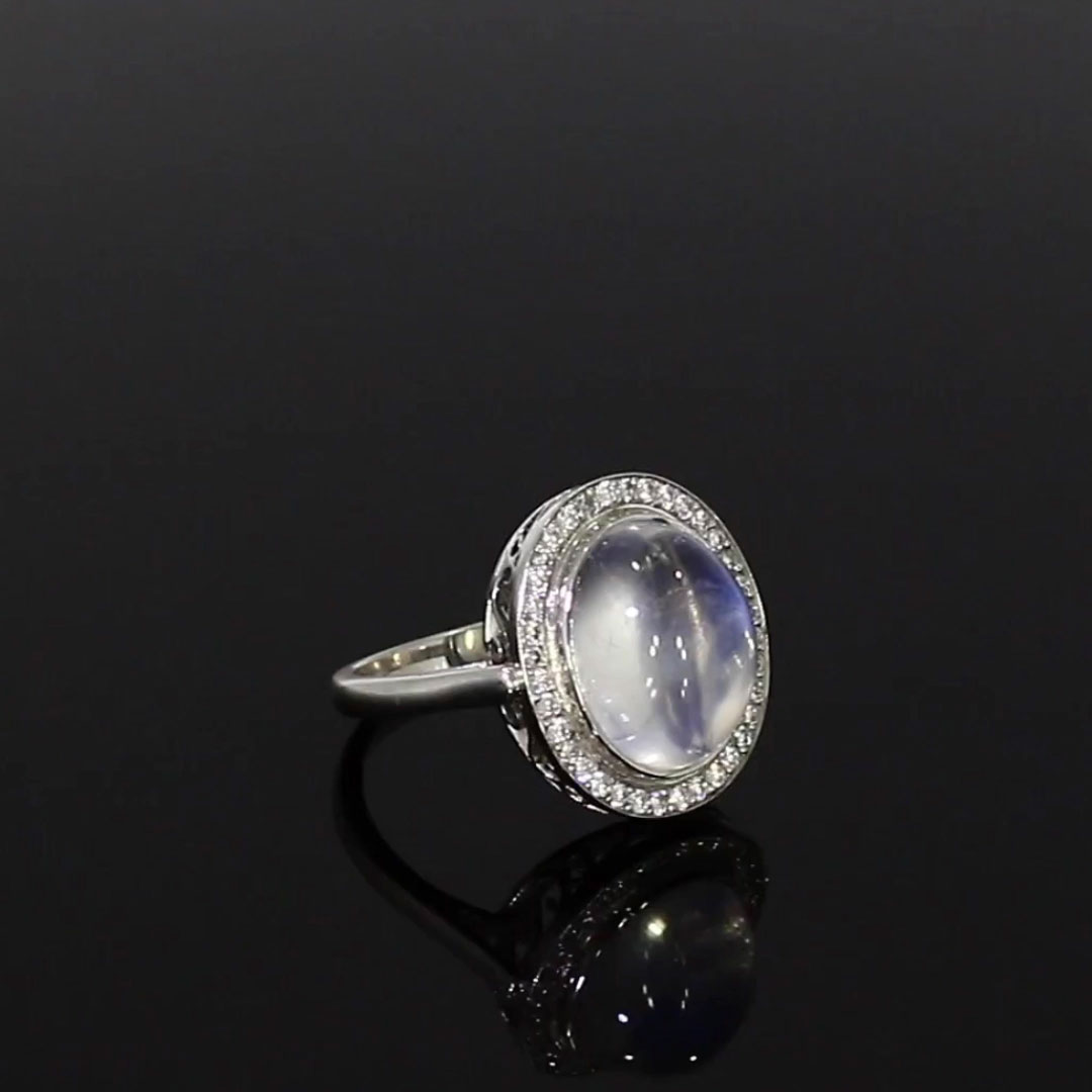 Cabochon Moonstone Ring<br /> 7.38CT in White Gold