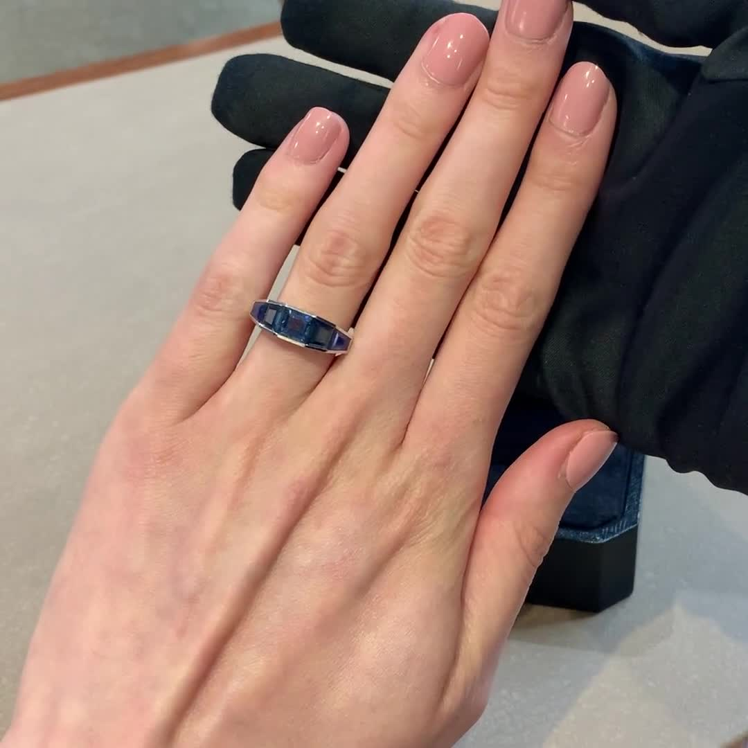 Carre Cut Blue Sapphire Ring<br /> 1.72CT in White Gold