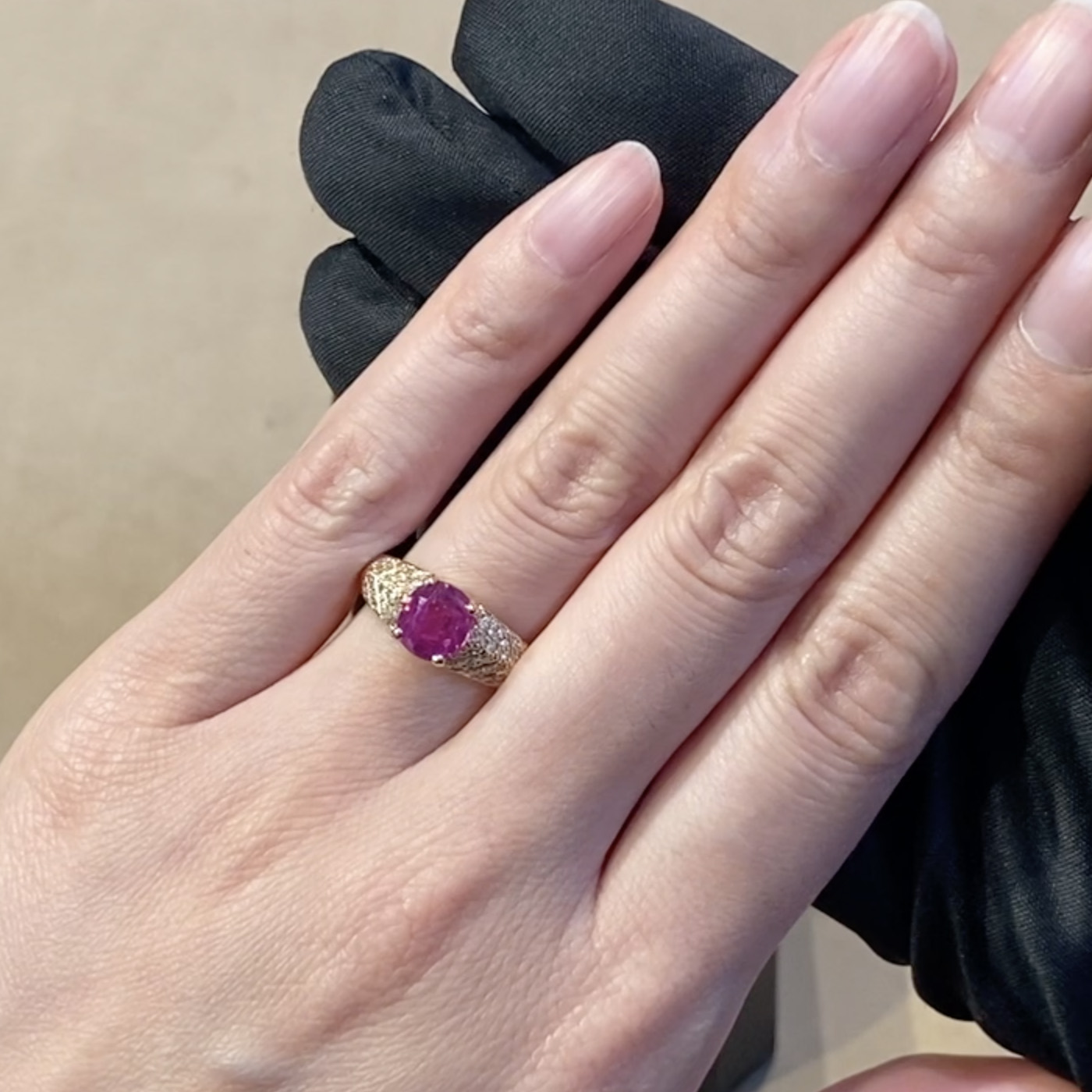 Burmese Cushion Cut Pink Sapphire Ring<br /> 2.12CT in Rose Gold
