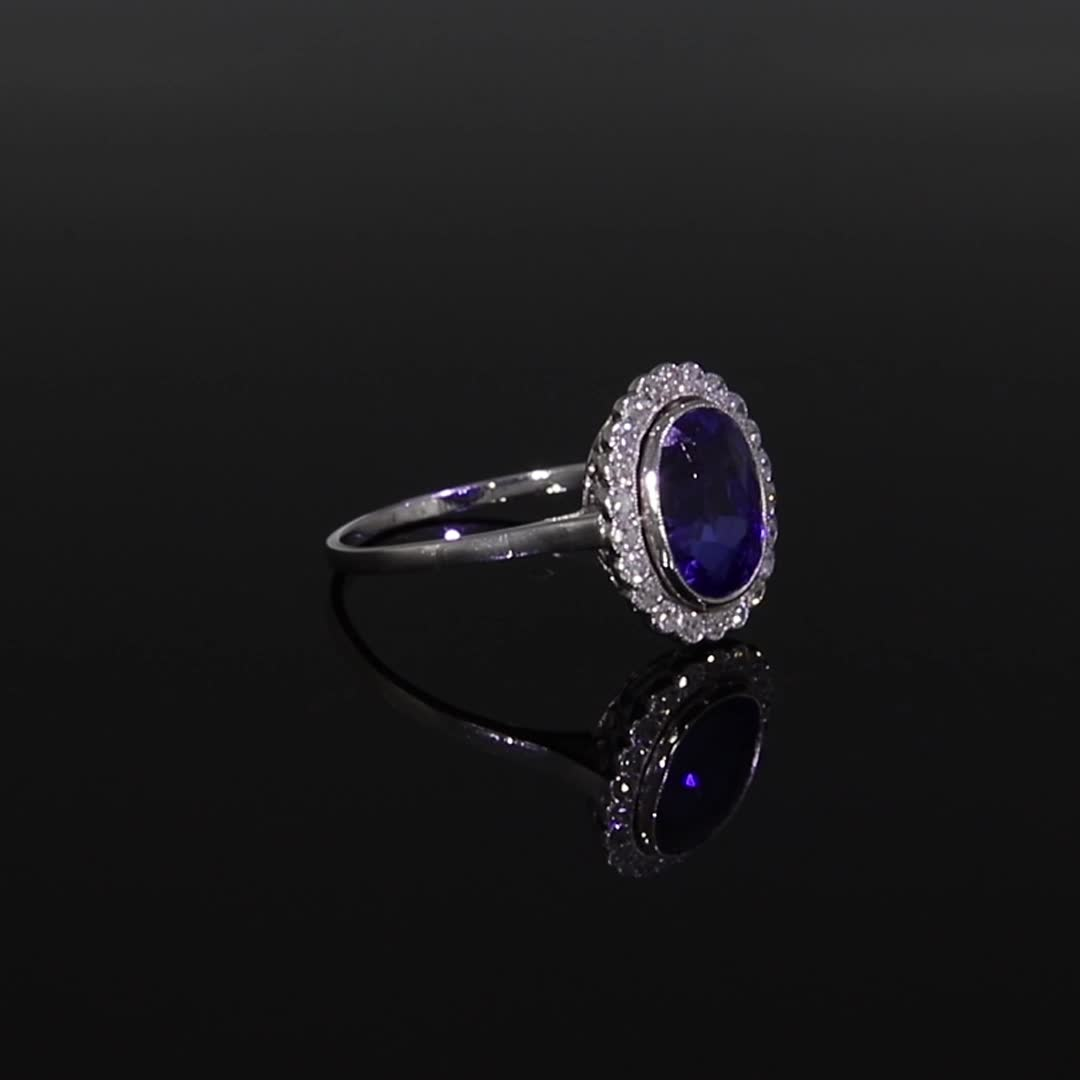 Art Deco Sapphire Cluster Ring<br />  in White Gold