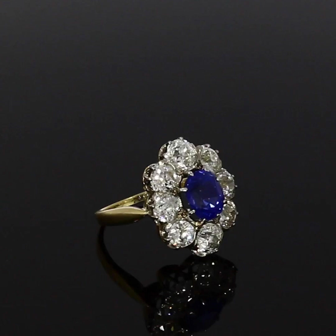Victorian Kashmir Sapphire Ring<br /> 2.19CT in Yellow Gold