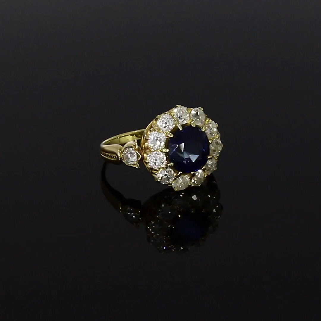 Victorian Blue Sapphire Ring<br /> 3.19CT in Yellow Gold