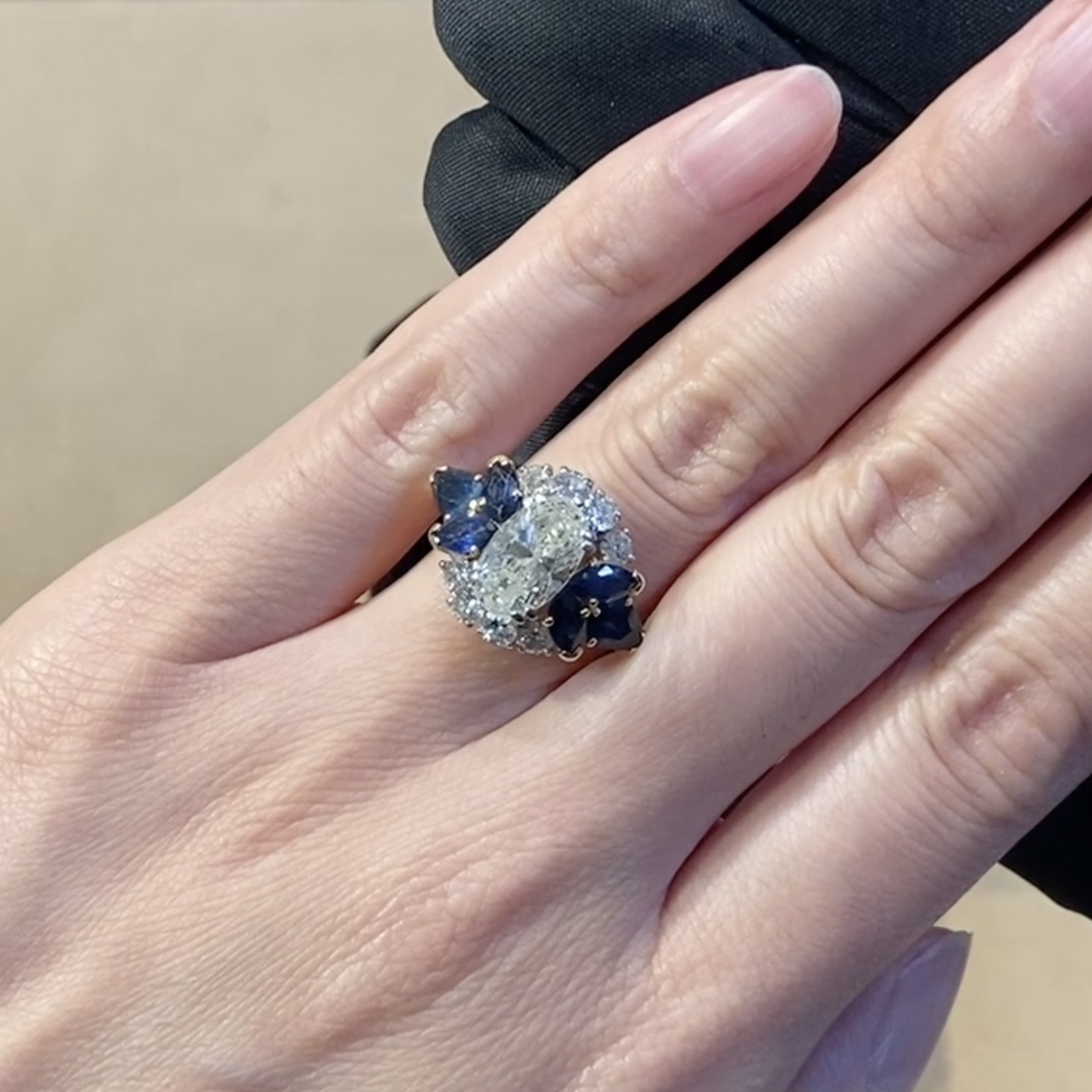 1980s Diamond and Sapphire Cluster Ring <br /> 2.00ct in Platinum and Yellow Gold