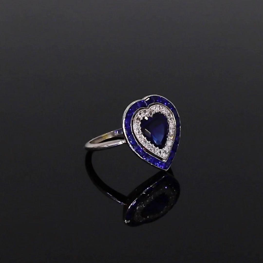 Art Deco Sapphire Heart Ring <br /> 1.87CT in Platinum
