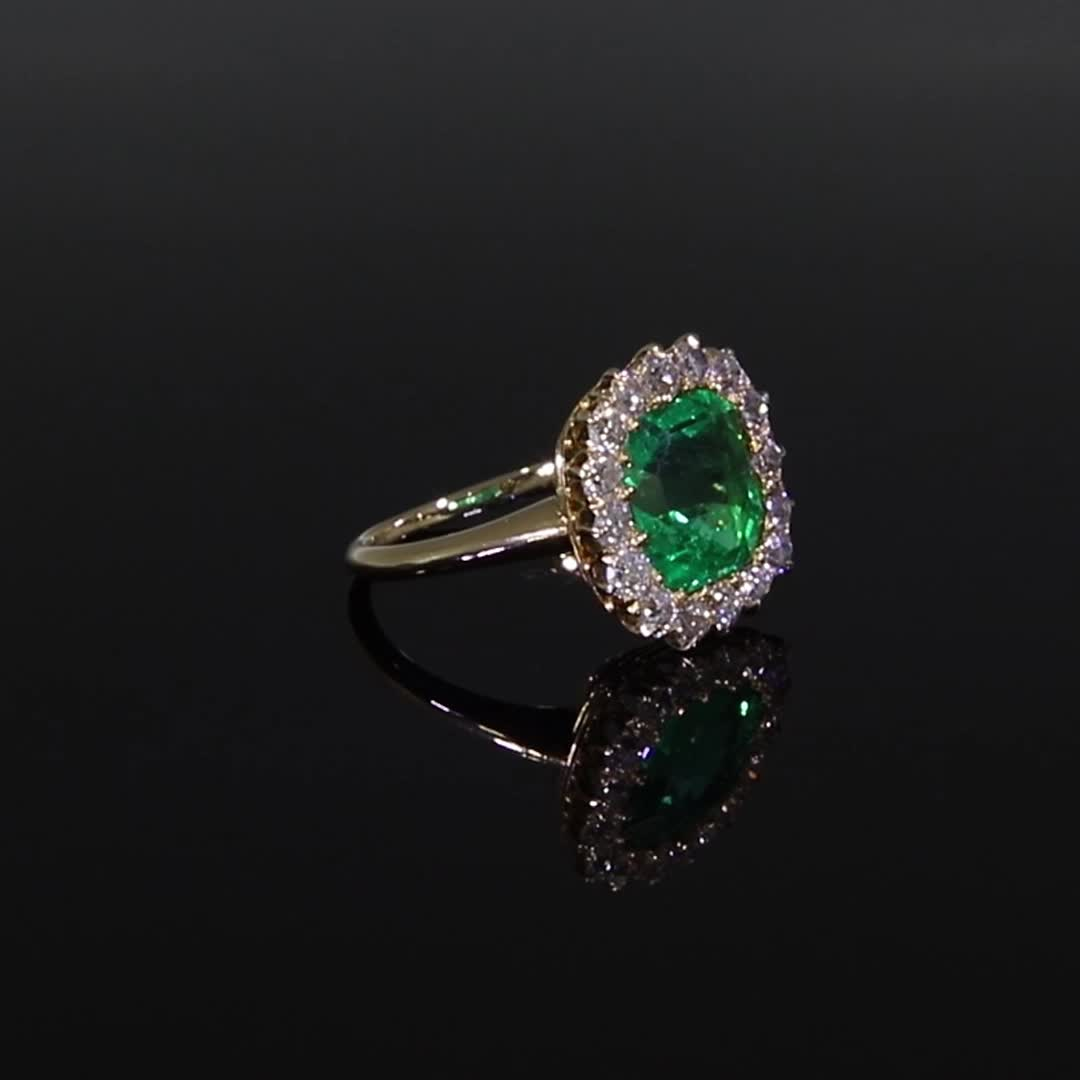 Colombian Emerald & Diamond Ring<br /> 3.19CT in 18ct Yellow Gold